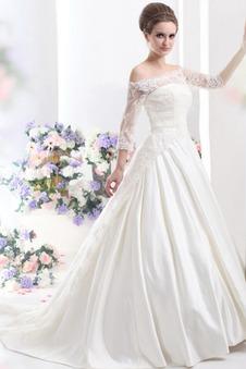 Abito da sposa Primavera Quanto Maniche a 3/4 Ball Gown Lungo Collare di spalla Carta