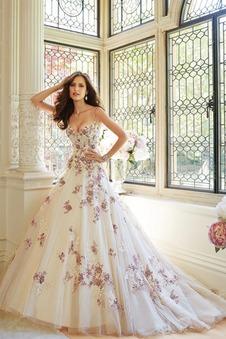 Abito da sposa Cinghia Ball Gown Ricami Pizzo francese Allacciato