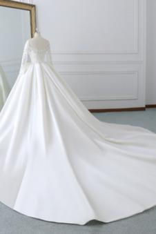 Abito da sposa Taglie Forti Raso Lace Coperta A-Line Naturale Applique