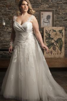 Abito da sposa moda Cuore Applique Tulle Lungo A-Line