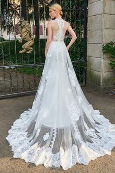 Abito da sposa A-Line trendiness Senza Maniche Applique decorato Pizzo