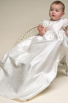 Abito cerimonia bambina A Terra Pieghe Maniche Corte Raso Alta Coperta Impero