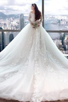 Abito da sposa Maniche Lunghe tessuto Naturale Tipo standard stravagante
