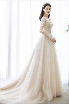 Abito da sposa Quanto Non Specificato Naturale A-Line tessuto Applique