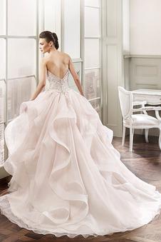 Abito da sposa Ball Gown Cuore Naturale Super Mezza Coperta Organza ambra