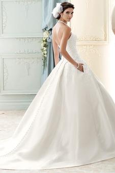 Abito da sposa Pizzo Primavera Senza Maniche unbacked Applique Ball Gown