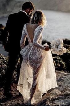 Abito da sposa paillettes A-Line Maniche Lunghe Naturale Vedere Stelle