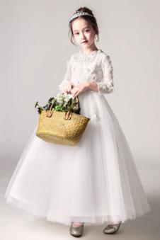 Abito cerimonia bambina decorato Pizzo T-Shirt Naturale Cerniera Fiore