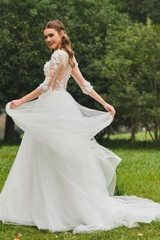 Abito da sposa Inverno Bateau trendiness all'aperto A-Line Naturale