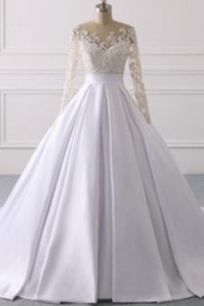 Abito da sposa Lace Coperta Maniche Lunghe Clessidra decorato Shiena Sheer