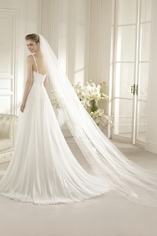 Abito da sposa A-Line Gonna lunga Chiffon Increspato Estate Schiena Nuda