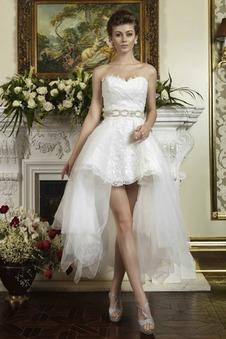 Abito da sposa Cuore unbacked Asimmetrici Applique Senza Maniche tessuto