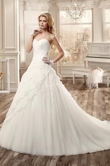 Abito da sposa Cuore Naturale Chiesa Schiena Nuda Applique Ball Gown