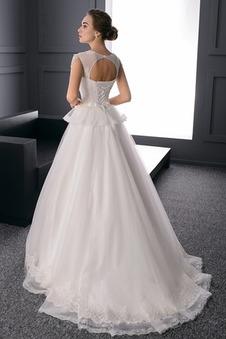 Abito da sposa A-Line Cintura di perline Naturale Tulle Bendaggio