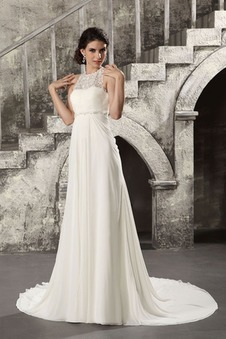Abiti da sposa perline Eleganti Applique Cinghia in rilievo Lungo