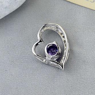 viola diamante intarsiato a forma di cuore in argento gioielli donne collana - Pagina 2