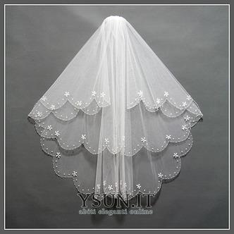 Velo da sposa Multi Strati Bianco Perline Lungo Breve Autunno - Pagina 1
