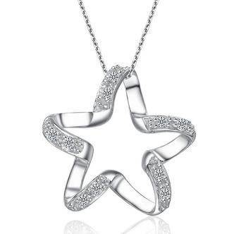 Clavicola donne argento cinque punte diamante intarsiato stella & collana - Pagina 1
