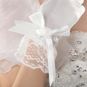 Guanti da sposa Chiesa Bianco Taffeta Spessore Pieno finger Fiocco - Pagina 2
