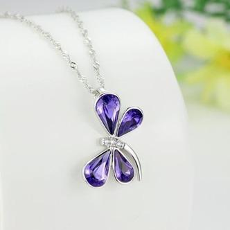 Donne di cristallo viola argento fornire all'ingrosso collana & Ciondolino Libellula - Pagina 3