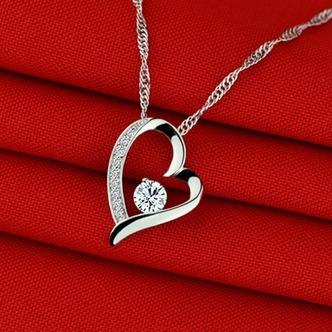 viola diamante intarsiato a forma di cuore in argento gioielli donne collana - Pagina 3