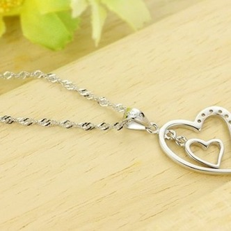 Argento diamante a forma di cuore di donne breve intarsiato collana pendente - Pagina 5
