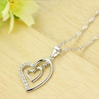 Argento diamante a forma di cuore di donne breve intarsiato collana pendente - Pagina 3