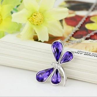 Donne di cristallo viola argento fornire all'ingrosso collana & Ciondolino Libellula - Pagina 2