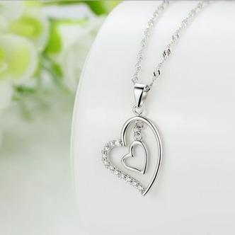 Argento diamante a forma di cuore di donne breve intarsiato collana pendente - Pagina 2