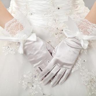 Guanti da sposa Chiesa Bianco Taffeta Spessore Pieno finger Fiocco - Pagina 1