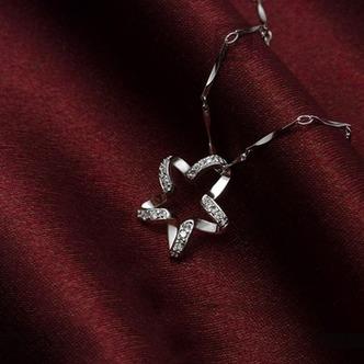 Clavicola donne argento cinque punte diamante intarsiato stella & collana - Pagina 4