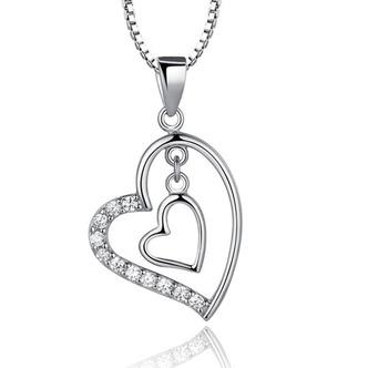 Argento diamante a forma di cuore di donne breve intarsiato collana pendente - Pagina 1