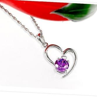 Le donne viola a forma di cuore in cristallo collana & ciondolo in argento - Pagina 3