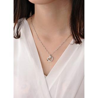 Le donne d'argento semplice doppio cuore collana clavicola & ciondolo - Pagina 2