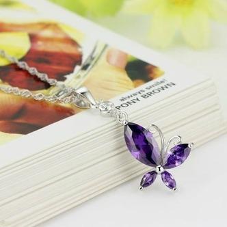 Moda viola diamante intarsiato insetto argento collana & - Pagina 1