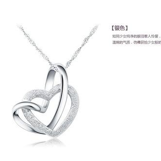 Le donne d'argento semplice doppio cuore collana clavicola & ciondolo - Pagina 1
