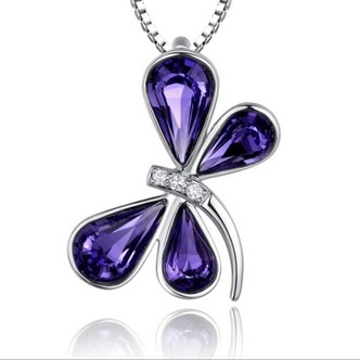 Donne di cristallo viola argento fornire all'ingrosso collana & Ciondolino Libellula - Pagina 1