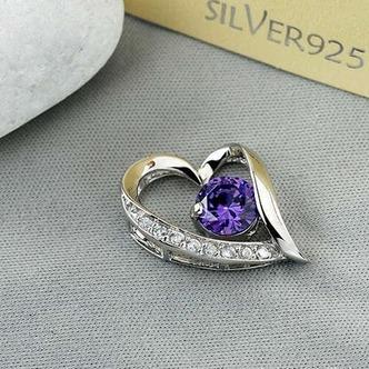 viola diamante intarsiato a forma di cuore in argento gioielli donne collana - Pagina 1