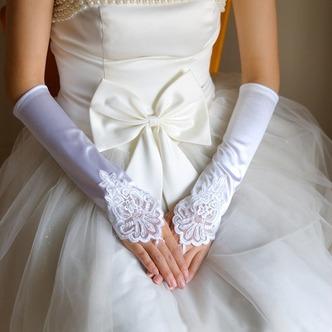 Guanti da sposa Raso elastico All Aperto Lungo Appropriato Applique - Pagina 1