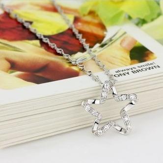 Clavicola donne argento cinque punte diamante intarsiato stella & collana - Pagina 3