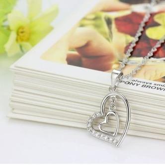 Argento diamante a forma di cuore di donne breve intarsiato collana pendente - Pagina 4