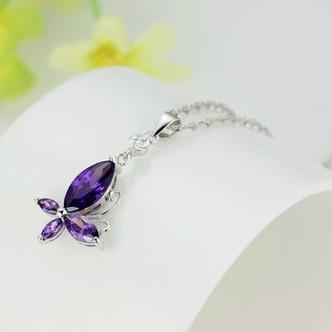 Moda viola diamante intarsiato insetto argento collana & - Pagina 2