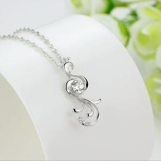 Donne moda pavone collana & pendente argento intarsiate del diamante - Pagina 3