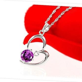 Le donne viola a forma di cuore in cristallo collana & ciondolo in argento - Pagina 2