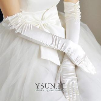 Guanti da sposa Increspato Inverno Formale Taffeta Lungo Bianco - Pagina 1
