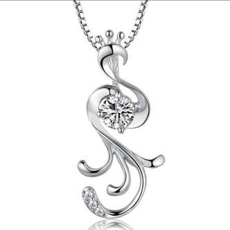 Donne moda pavone collana & pendente argento intarsiate del diamante - Pagina 1