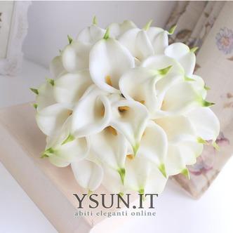 La sposa tiene una simulazione calla lily fiore bouquet damigelle fiore fiore ragazza mano - Pagina 2
