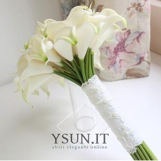 La sposa tiene una simulazione calla lily fiore bouquet damigelle fiore fiore ragazza mano - Pagina 3