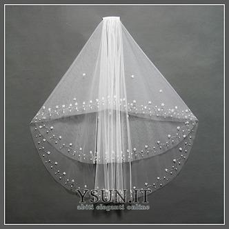 Velo da sposa Lungo Con il pettine Breve Bianco moda Perline - Pagina 1