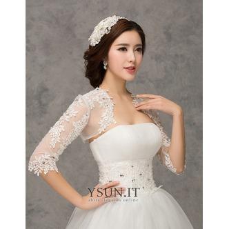 Scialle da sposa moda Applique Ombra Giacca Bianco Pizzo francese - Pagina 2